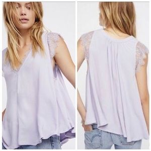 Free People Lovin' on You Lace Trim Blouse